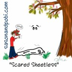 Scared Sheetless Ghost Halloween Cartoon